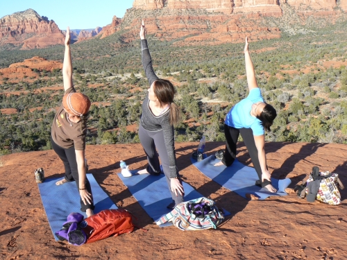 Sedona Yoga & Hiking Retreat Spiritual Journey: Triangle pose at Bell Rock vortex