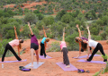 Sedona Yoga and Hiking Spiritual Journeys: Triangle pose outdoors at a red rock vortex