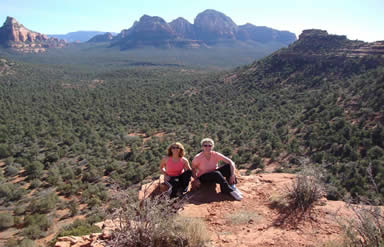 Johanna Maheshvari guides retreat guests on vortex yoga hikes to majestic sacred sites
