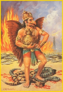 Lord Garuda, Eagle God, on YogaLife.Net descriptions of Hindu Gods and Goddesses and what they represent