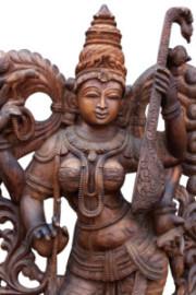 wooden statue of Hindu goddess Saraswathi Devi