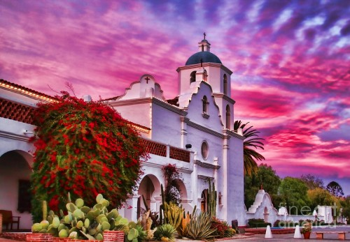 Mission San Luis Rey de Francia, Oceanside, CA, Front at Magenta Sunset